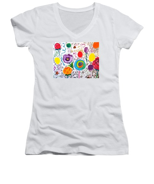 Women's V-Neck T-Shirt (Junior Cut) featuring the painting Roses And Lollipops For Mom by Meryl Goudey