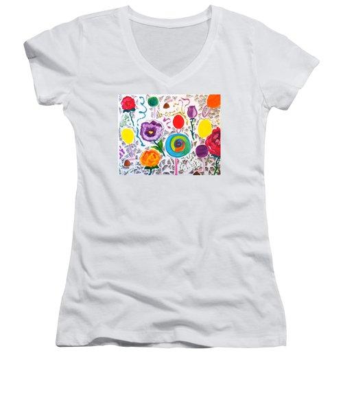 Roses And Lollipops For Mom Women's V-Neck T-Shirt