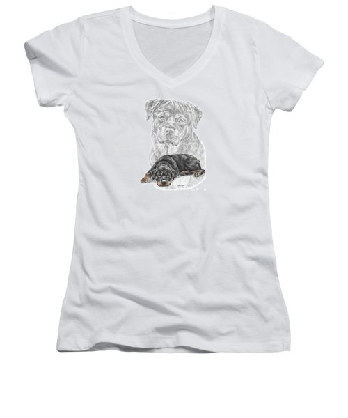Rottie Charm - Rottweiler Dog Print With Color Women's V-Neck (Athletic Fit)
