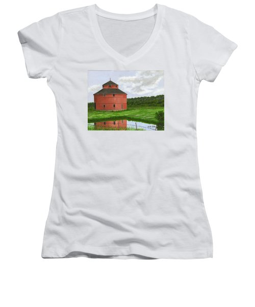 Round Barn Women's V-Neck T-Shirt (Junior Cut) by Dustin Miller