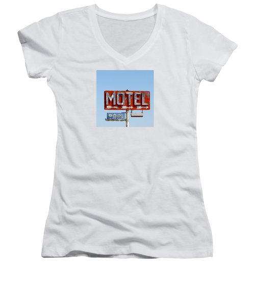Route 66 Motel Sign Women's V-Neck (Athletic Fit)