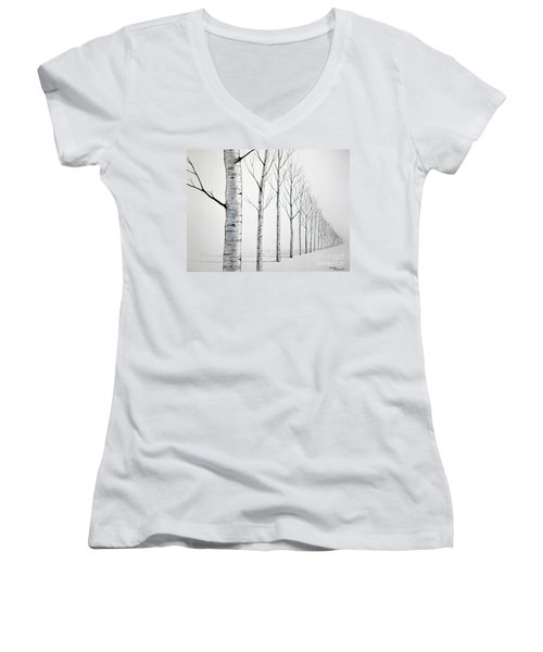 Row Of Birch Trees In The Snow Women's V-Neck T-Shirt