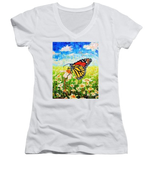 Royal Monarch Butterfly In Daisies Women's V-Neck