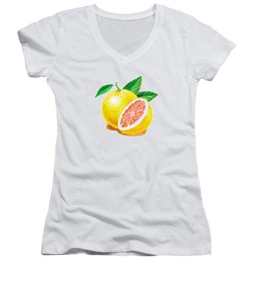 Ruby Red Grapefruit Women's V-Neck T-Shirt (Junior Cut) by Irina Sztukowski