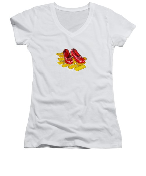 Ruby Slippers The Wizard Of Oz  Women's V-Neck
