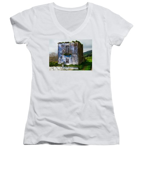 Ruins Of House Painted Blue Women's V-Neck