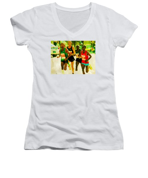Women's V-Neck featuring the photograph Runners by Alice Gipson