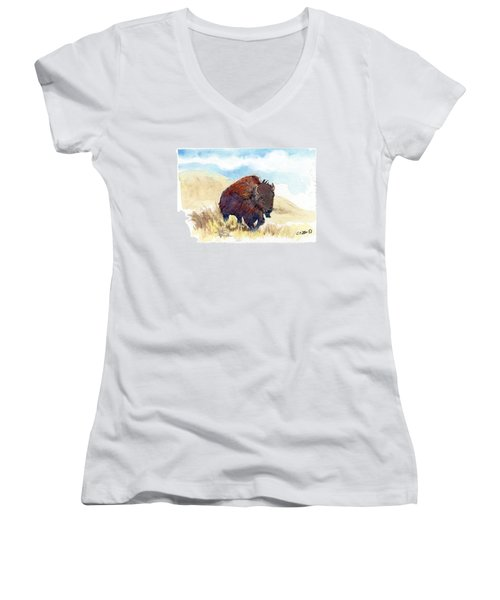 Running Buffalo Women's V-Neck (Athletic Fit)