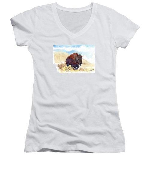 Running Buffalo Women's V-Neck T-Shirt
