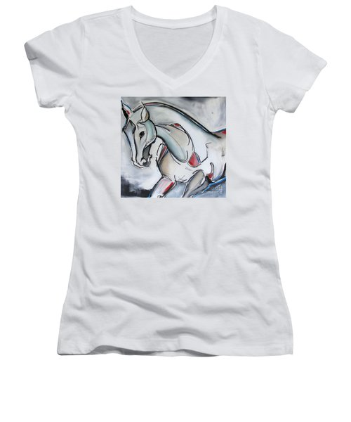 Women's V-Neck T-Shirt (Junior Cut) featuring the painting Running Wild by Nicole Gaitan