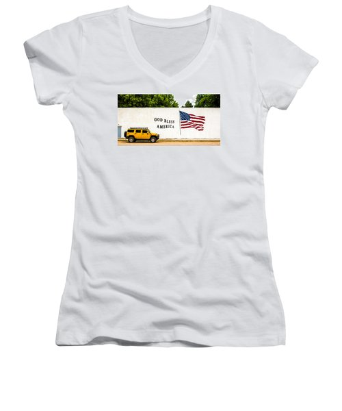 Rural America Wall Mural Women's V-Neck T-Shirt (Junior Cut) by Bill Kesler