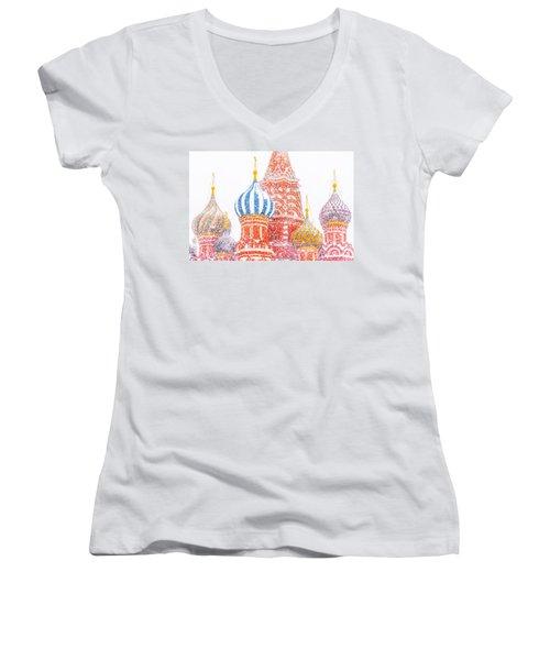 Russian Winter Women's V-Neck T-Shirt (Junior Cut) by Alexander Senin