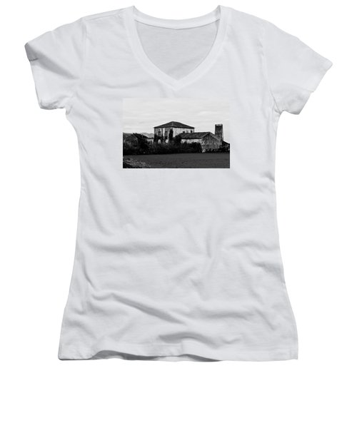 Rustic Outbuildings In A Field  Women's V-Neck (Athletic Fit)
