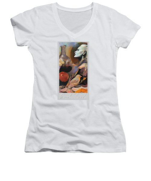 Women's V-Neck T-Shirt (Junior Cut) featuring the mixed media Soul Food - With Title And Light Border by Brooks Garten Hauschild