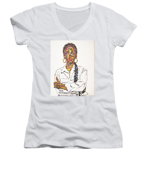 Women's V-Neck T-Shirt (Junior Cut) featuring the painting Abstract Sade  by Stormm Bradshaw