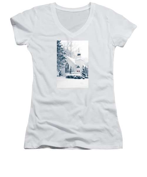Historic Church Oella Maryland Usa Women's V-Neck T-Shirt (Junior Cut) by Vizual Studio