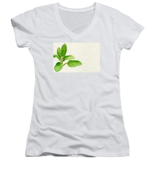 Sage Women's V-Neck T-Shirt (Junior Cut) by Annemeet Hasidi- van der Leij