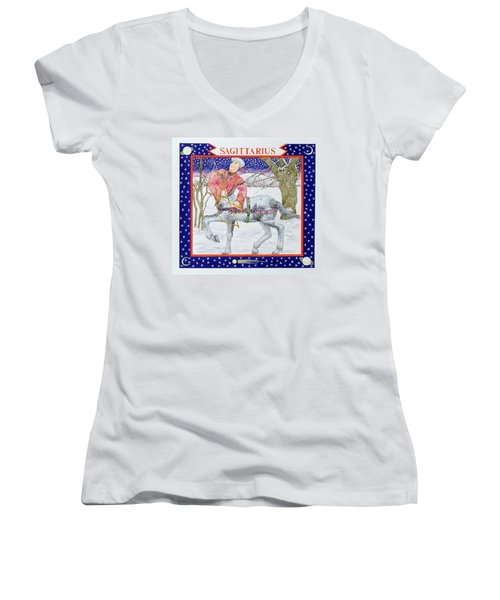 Sagittarius Wc On Paper Women's V-Neck T-Shirt (Junior Cut) by Catherine Bradbury