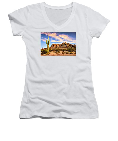 Saguaro Superstition Mountains Arizona Women's V-Neck (Athletic Fit)