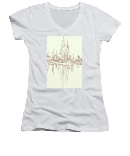 Women's V-Neck T-Shirt (Junior Cut) featuring the photograph Sailboat On Liberty Bay by Greg Reed