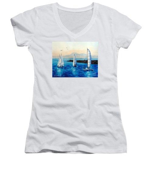 Sailboats Women's V-Neck