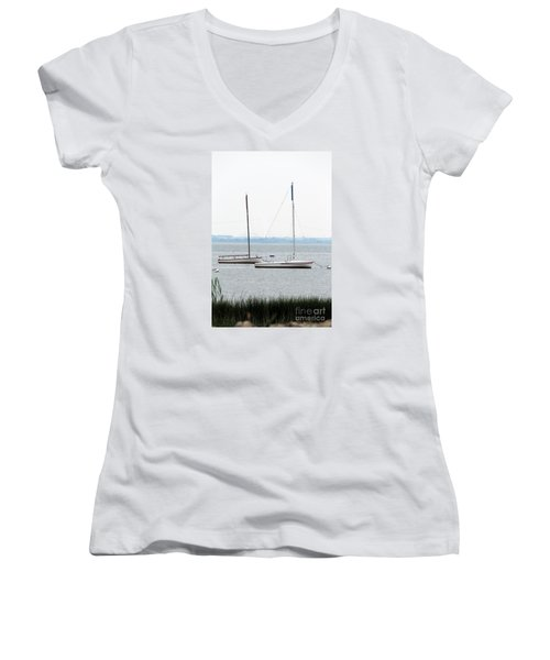 Sailboats In Battery Park Harbor Women's V-Neck T-Shirt