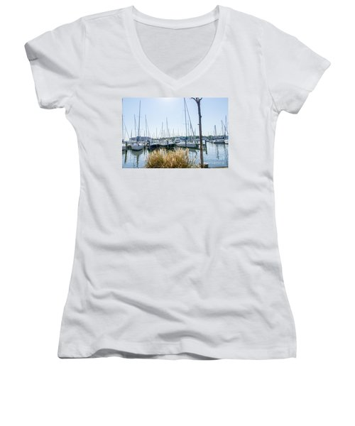Women's V-Neck T-Shirt (Junior Cut) featuring the photograph Sailboats On Back Creek by Charles Kraus
