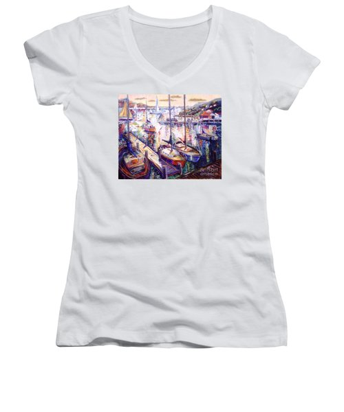 Sailboats Women's V-Neck (Athletic Fit)