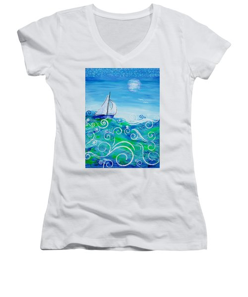 Sailing By Jan Marvin Women's V-Neck T-Shirt