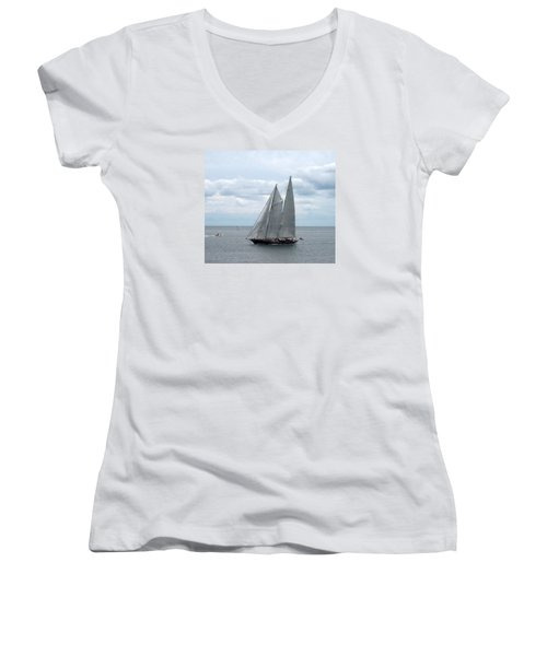 Sailing Day Women's V-Neck T-Shirt (Junior Cut) by Catherine Gagne