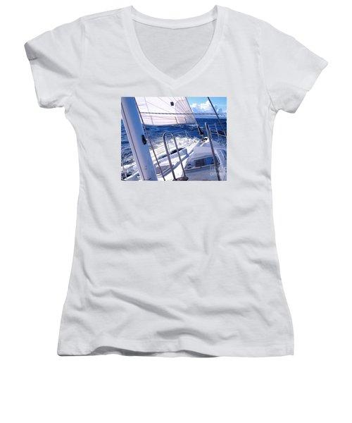 Sailing Hawaii Women's V-Neck T-Shirt (Junior Cut) by Joseph J Stevens