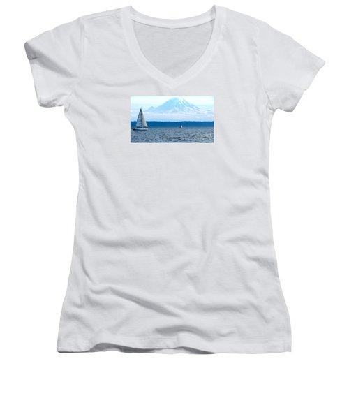 Sailing In Mt. Rainier's Shadow Women's V-Neck T-Shirt