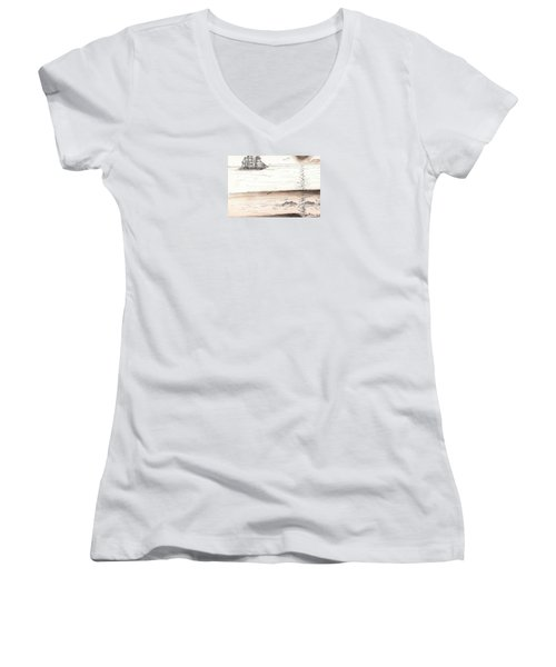 Sailing Into The Past Women's V-Neck (Athletic Fit)
