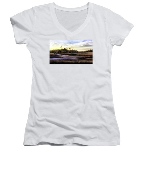 Saint Marks Wetland Sunset Women's V-Neck T-Shirt