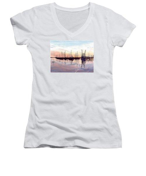 Saint Marys Marina   Shadows Light And Fire Women's V-Neck T-Shirt (Junior Cut) by Joel Deutsch