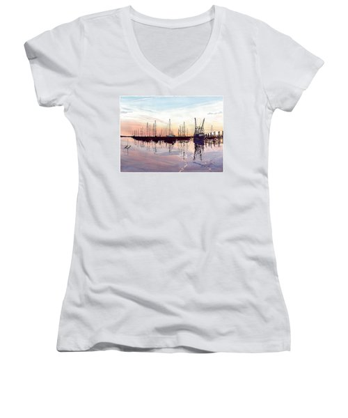 Saint Marys Marina   Shadows Light And Fire Women's V-Neck T-Shirt