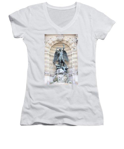 Saint Michael The Archangel In Paris Women's V-Neck