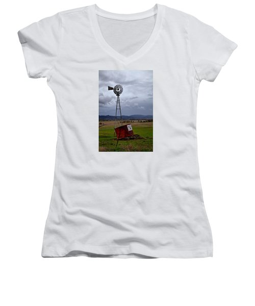 Salt Springs Windmill Women's V-Neck (Athletic Fit)