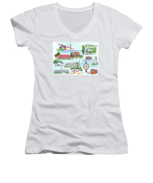 San Francisco Highlights Montage Women's V-Neck T-Shirt (Junior Cut) by Mike Robles
