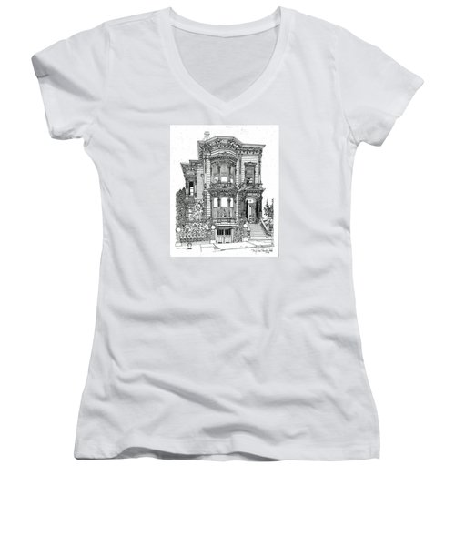 Women's V-Neck T-Shirt (Junior Cut) featuring the drawing San Francisco Victorian   by Ira Shander