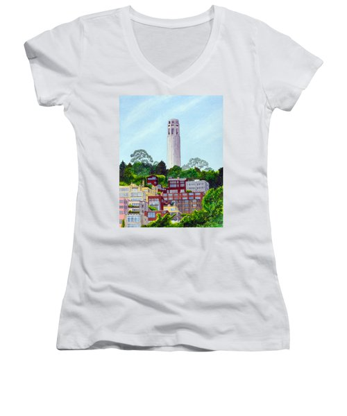 San Francisco's Coit Tower Women's V-Neck T-Shirt