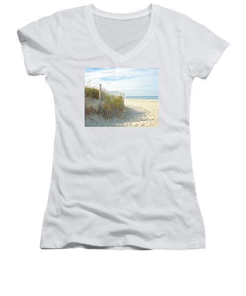 Women's V-Neck T-Shirt (Junior Cut) featuring the photograph Sand Beach Ocean And Dunes by Brooke T Ryan