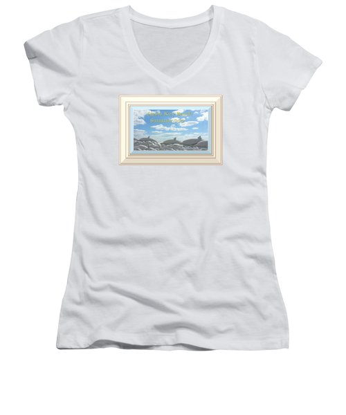 Sand Dolphins - Digitally Framed Women's V-Neck T-Shirt (Junior Cut) by Susan Molnar