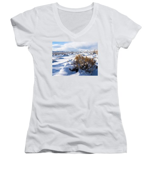 Sand Wash Basin In The Winter Women's V-Neck T-Shirt (Junior Cut) by Nadja Rider