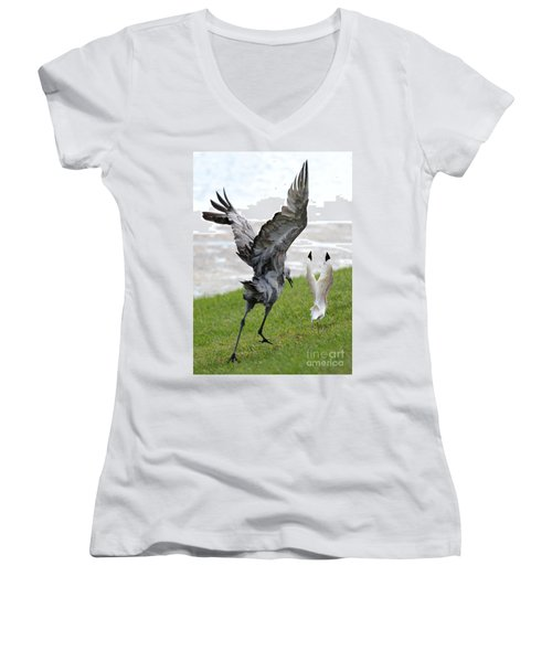 Sandhill Chasing Ibis Women's V-Neck T-Shirt (Junior Cut) by Carol Groenen