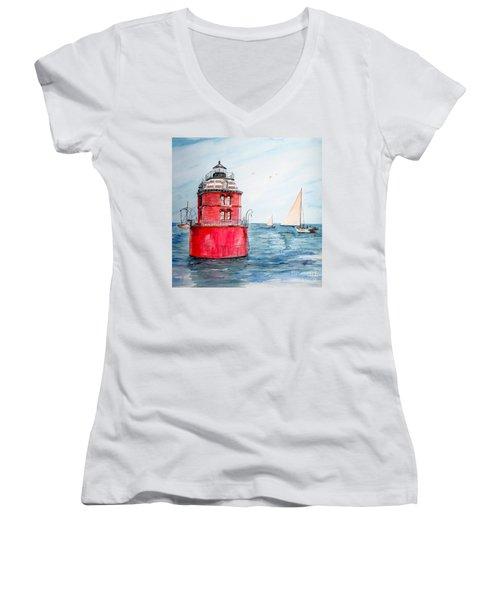Sandy Point Lighthouse 2 Women's V-Neck (Athletic Fit)