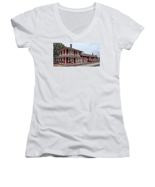 Women's V-Neck T-Shirt (Junior Cut) featuring the photograph Santa Paula Station by Michael Gordon