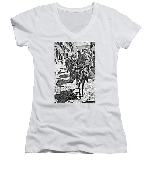Santorini Donkey Train. Women's V-Neck T-Shirt (Junior Cut) by Meirion Matthias