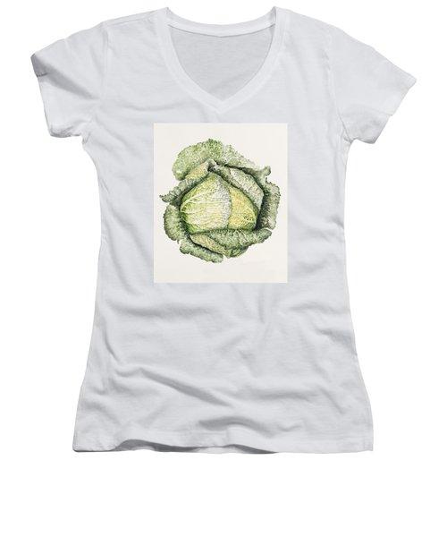 Savoy Cabbage  Women's V-Neck T-Shirt (Junior Cut) by Alison Cooper