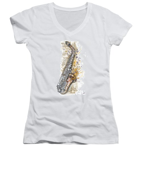 Saxophone 02 - Elena Yakubovich Women's V-Neck T-Shirt (Junior Cut) by Elena Yakubovich